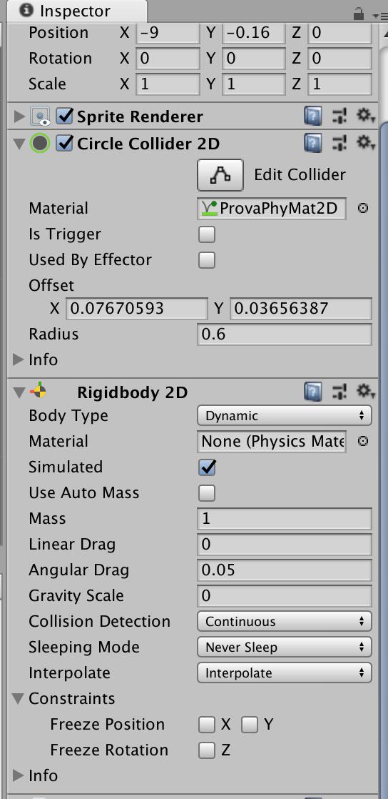 Il componente Rigidbody 2D