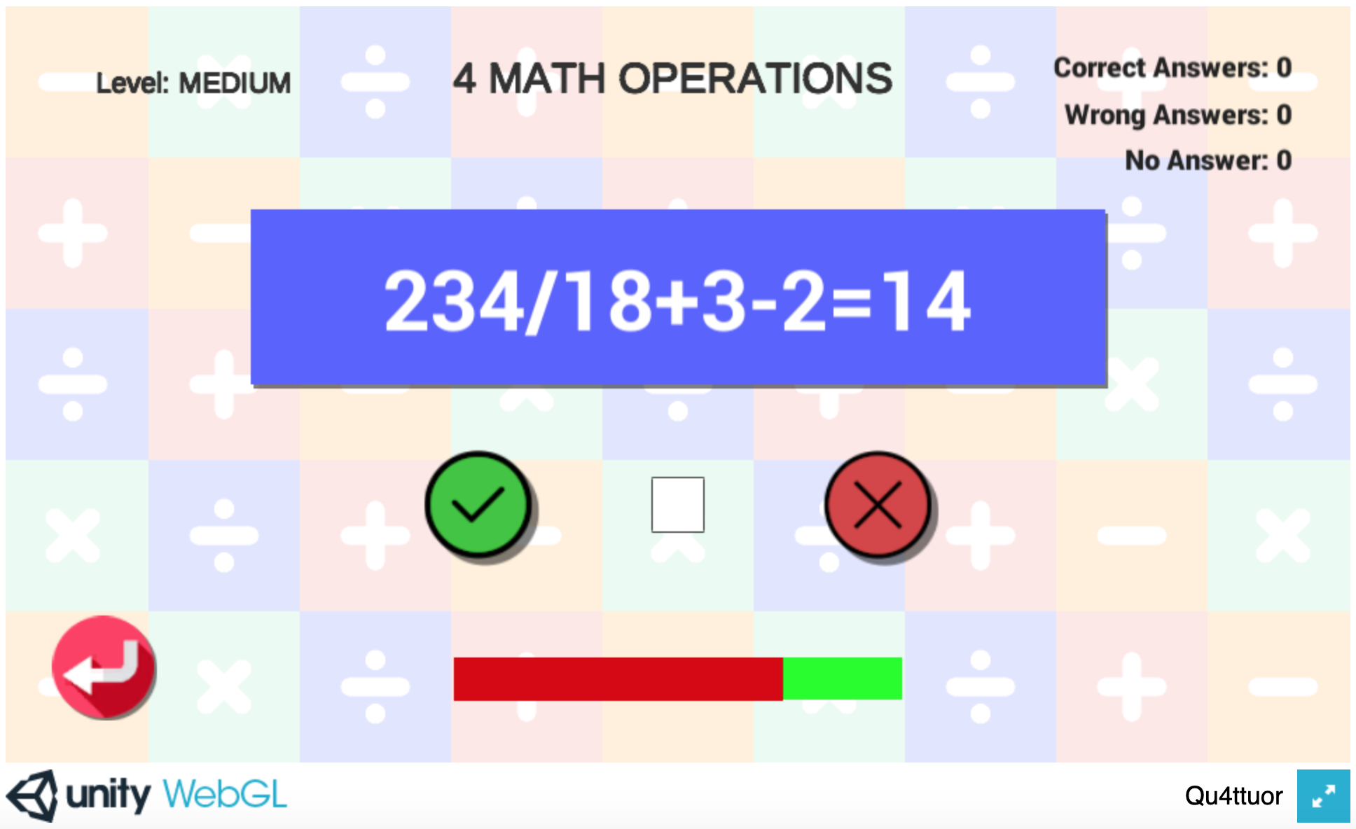 Qu4ttuor - Schermata di gioco